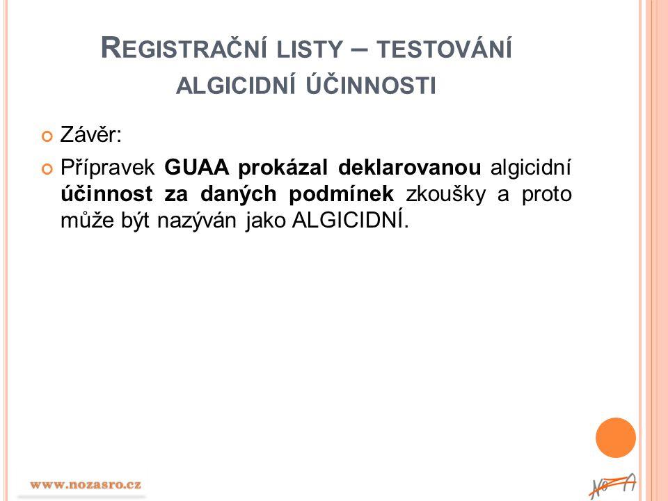 R EGISTRAČNÍ LISTY – TESTOVÁNÍ ALGICIDNÍ ÚČINNOSTI Závěr: Přípravek GUAA prokázal deklarovanou algicidní účinnost za daných podmínek zkoušky a proto m