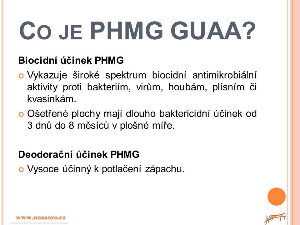 C O JE PHMG GUAA? Biocidní účinek PHMG Vykazuje široké spektrum biocidní antimikrobiální aktivity proti bakteriím, virům, houbám, plísním či kvasinkám