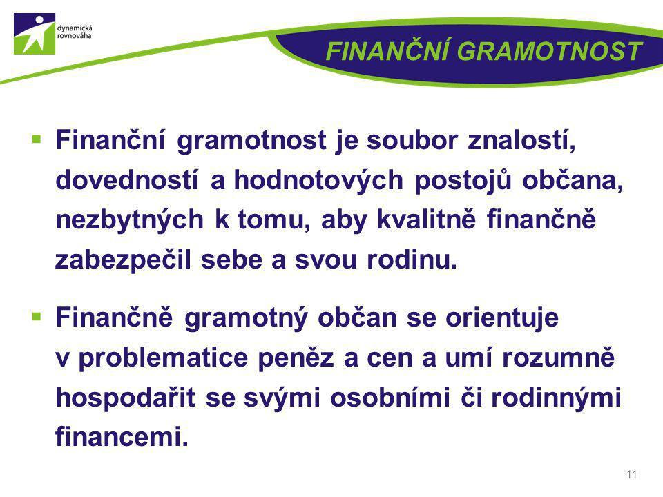FINANČNÍ GRAMOTNOST  Finanční gramotnost je soubor znalostí, dovedností a hodnotových postojů občana, nezbytných k tomu, aby kvalitně finančně zabezp