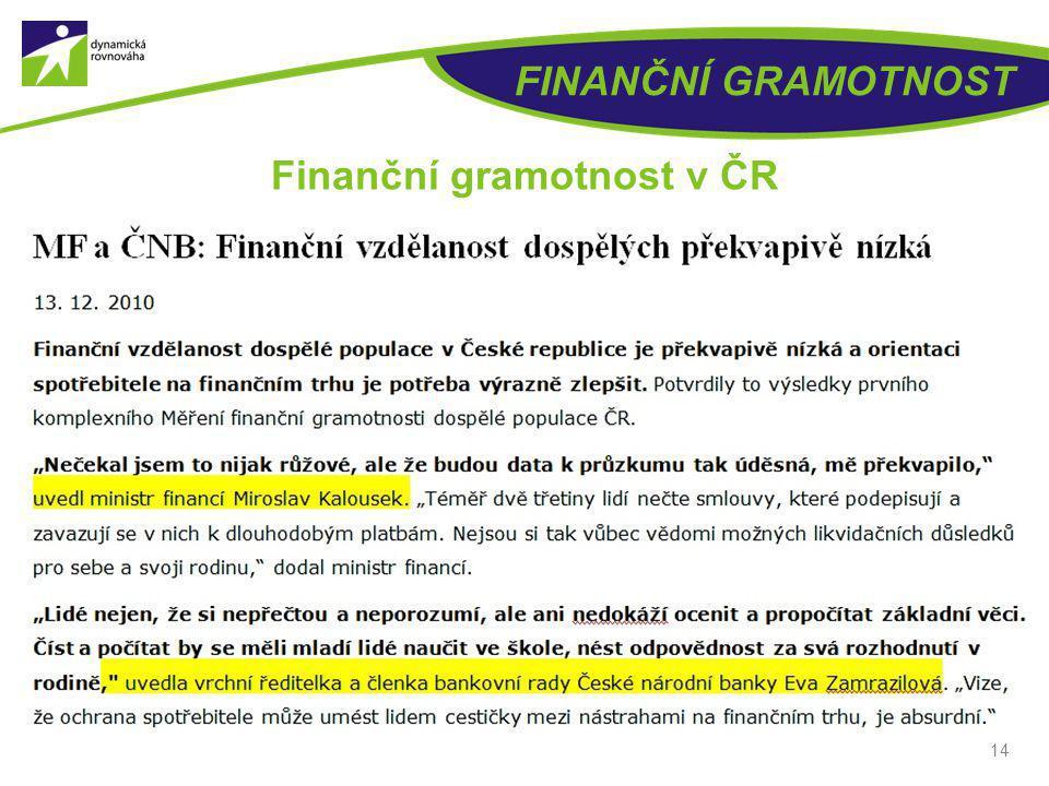 FINANČNÍ GRAMOTNOST 14 Finanční gramotnost v ČR