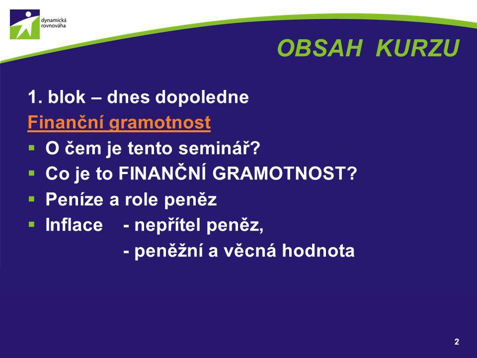 OBSAH KURZU 1. blok – dnes dopoledne Finanční gramotnost  O čem je tento seminář?  Co je to FINANČNÍ GRAMOTNOST?  Peníze a role peněz  Inflace - n