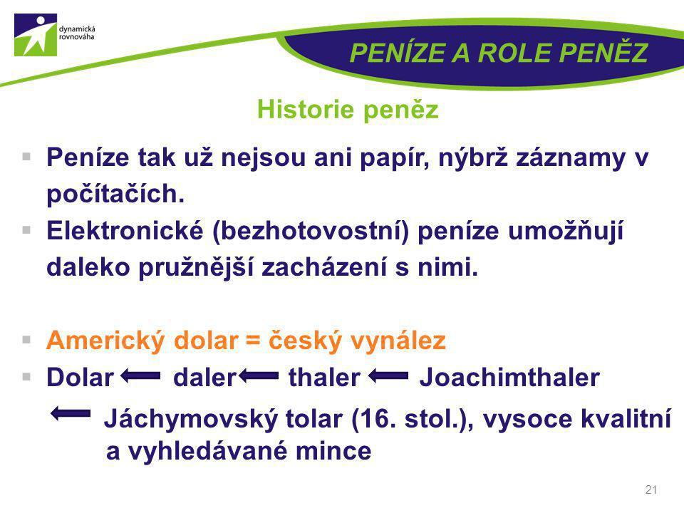 21 PENÍZE A ROLE PENĚZ Historie peněz  Peníze tak už nejsou ani papír, nýbrž záznamy v počítačích.  Elektronické (bezhotovostní) peníze umožňují dal