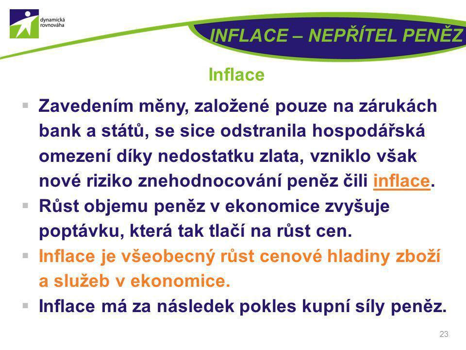 23 INFLACE – NEPŘÍTEL PENĚZ Inflace  Zavedením měny, založené pouze na zárukách bank a států, se sice odstranila hospodářská omezení díky nedostatku