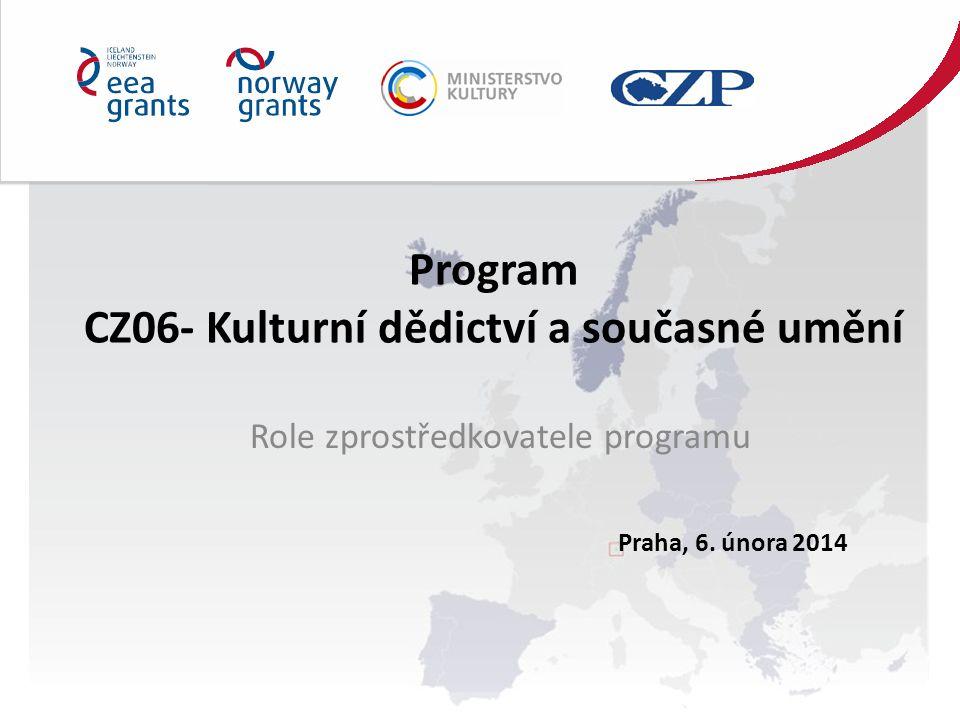 Program CZ06- Kulturní dědictví a současné umění Role zprostředkovatele programu Praha, 6.