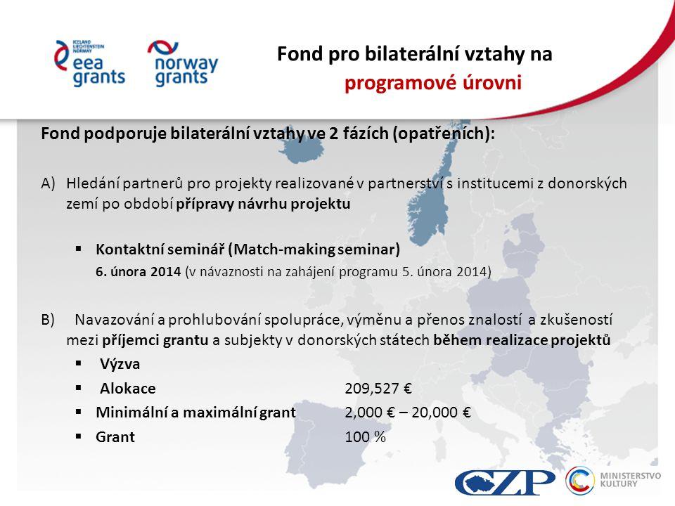 Fond pro bilaterální vztahy na programové úrovni Fond podporuje bilaterální vztahy ve 2 fázích (opatřeních): A)Hledání partnerů pro projekty realizované v partnerství s institucemi z donorských zemí po období přípravy návrhu projektu  Kontaktní seminář (Match-making seminar) 6.