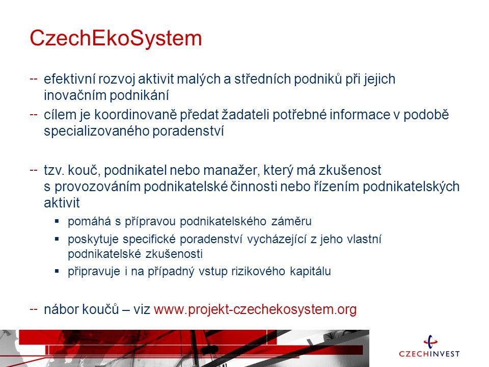 CzechEkoSystem efektivní rozvoj aktivit malých a středních podniků při jejich inovačním podnikání cílem je koordinovaně předat žadateli potřebné informace v podobě specializovaného poradenství tzv.
