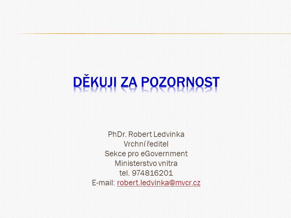 PhDr. Robert Ledvinka Vrchní ředitel Sekce pro eGovernment Ministerstvo vnitra tel. 974816201 E-mail: robert.ledvinka@mvcr.czrobert.ledvinka@mvcr.cz