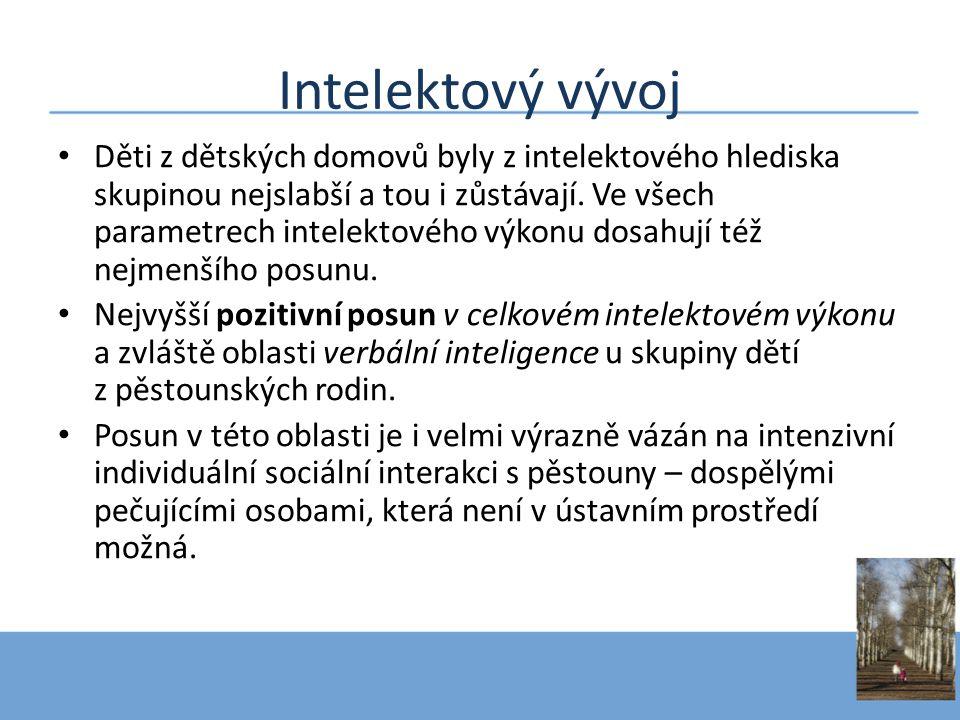 Intelektový vývoj • Děti z dětských domovů byly z intelektového hlediska skupinou nejslabší a tou i zůstávají. Ve všech parametrech intelektového výko