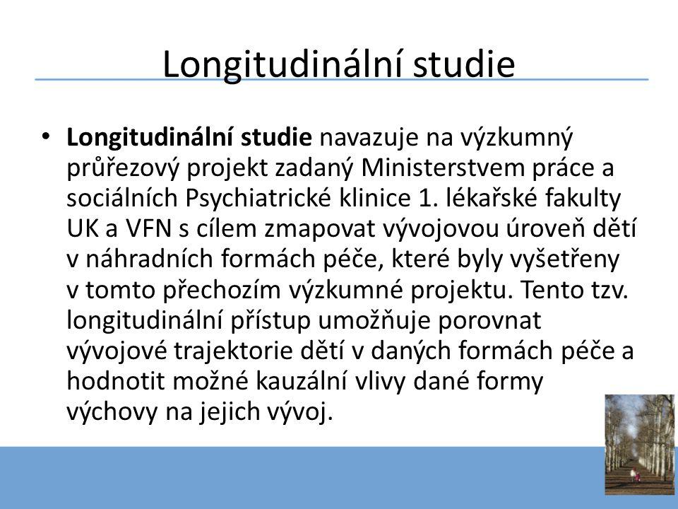 • Longitudinální studie navazuje na výzkumný průřezový projekt zadaný Ministerstvem práce a sociálních Psychiatrické klinice 1. lékařské fakulty UK a