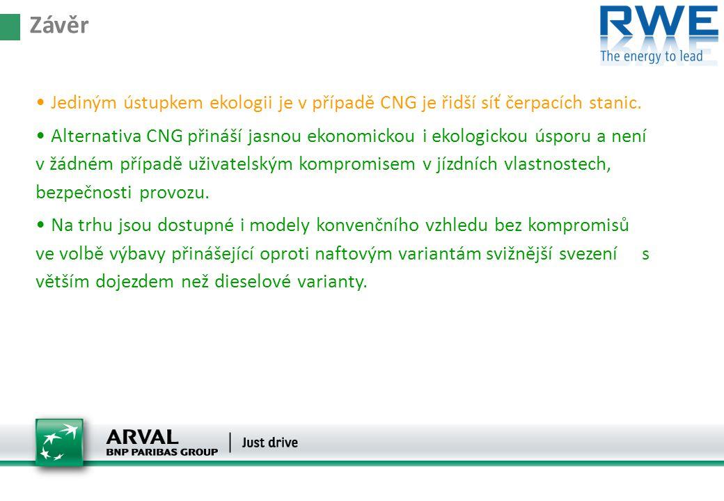 • Jediným ústupkem ekologii je v případě CNG je řidší síť čerpacích stanic. • Alternativa CNG přináší jasnou ekonomickou i ekologickou úsporu a není v