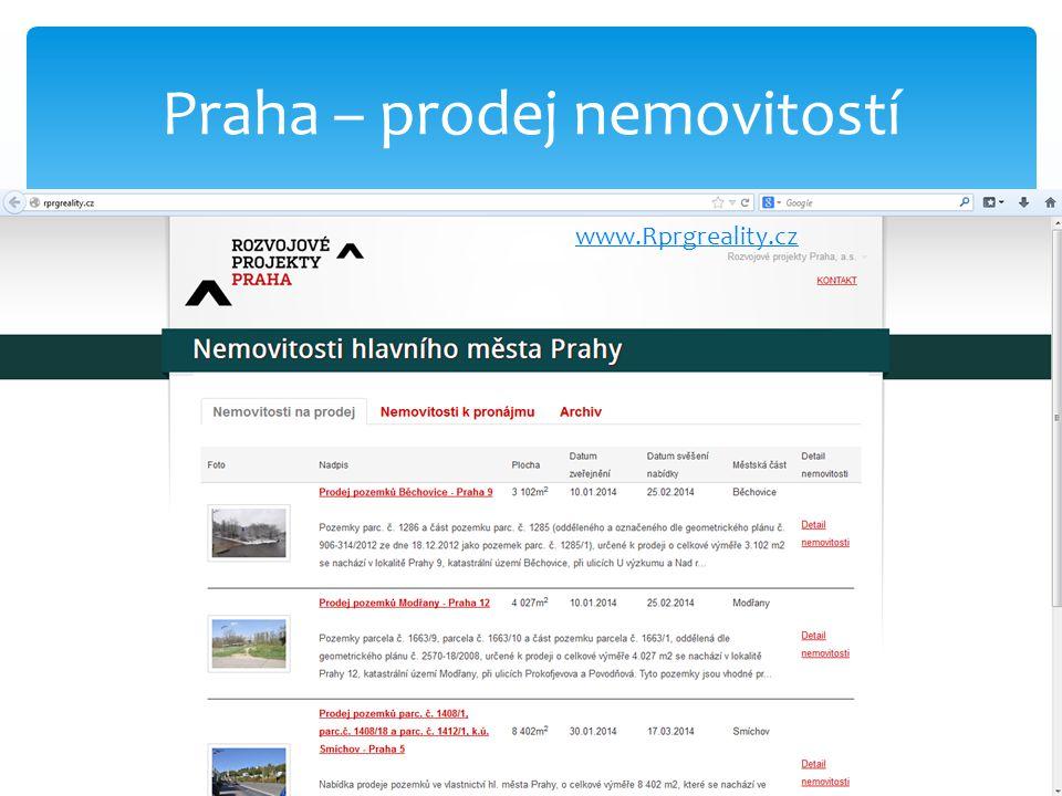 Praha – prodej nemovitostí www.Rprgreality.cz