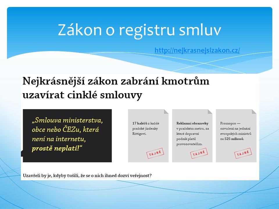 Zákon o registru smluv http://nejkrasnejsizakon.cz/