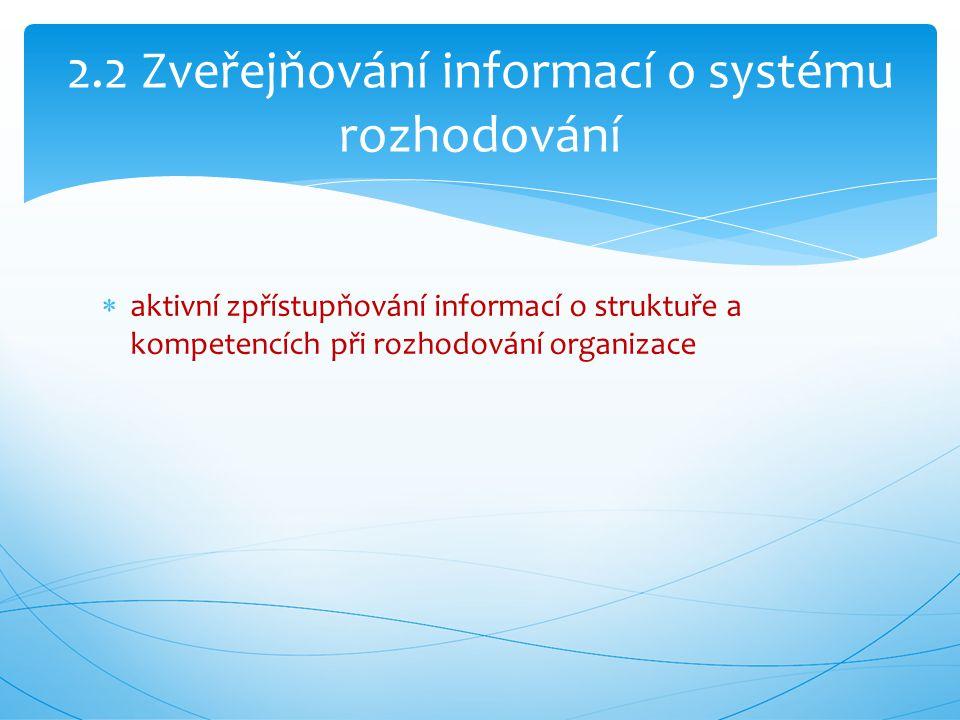 2.2 Zveřejňování informací o systému rozhodování  aktivní zpřístupňování informací o struktuře a kompetencích při rozhodování organizace
