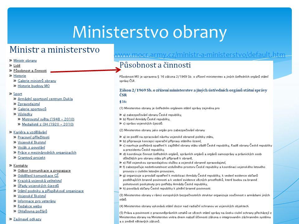 Ministerstvo obrany http://www.mocr.army.cz/ministr-a-ministerstvo/default.htm
