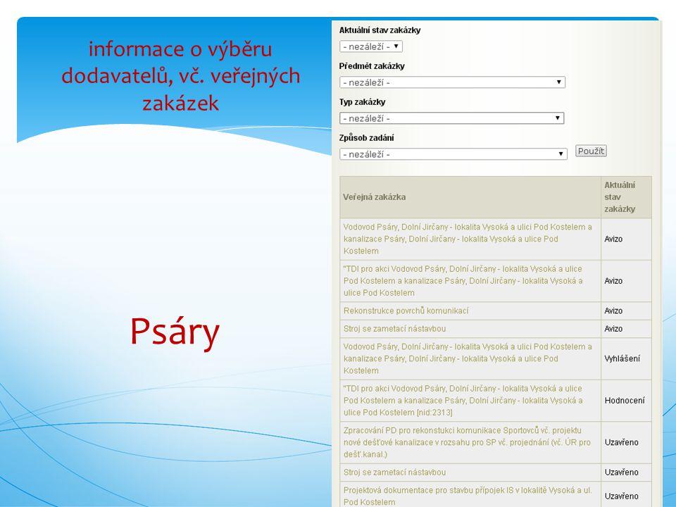 informace o výběru dodavatelů, vč. veřejných zakázek Psáry