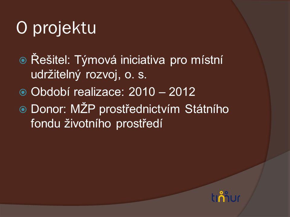 O projektu  Řešitel: Týmová iniciativa pro místní udržitelný rozvoj, o. s.  Období realizace: 2010 – 2012  Donor: MŽP prostřednictvím Státního fond