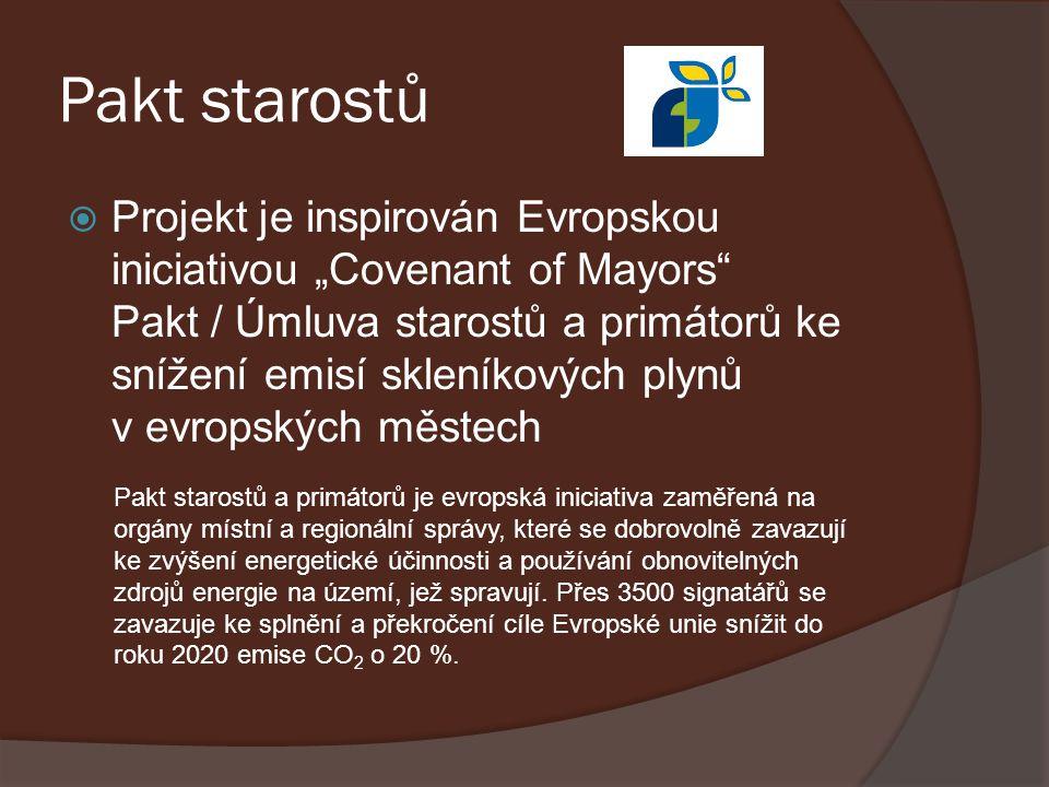 """Pakt starostů  Projekt je inspirován Evropskou iniciativou """"Covenant of Mayors"""" Pakt / Úmluva starostů a primátorů ke snížení emisí skleníkových plyn"""