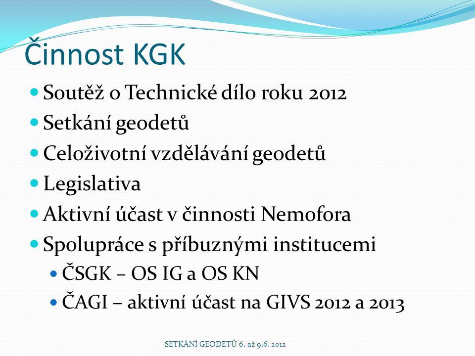 Činnost KGK  Soutěž o Technické dílo roku 2012  Setkání geodetů  Celoživotní vzdělávání geodetů  Legislativa  Aktivní účast v činnosti Nemofora 