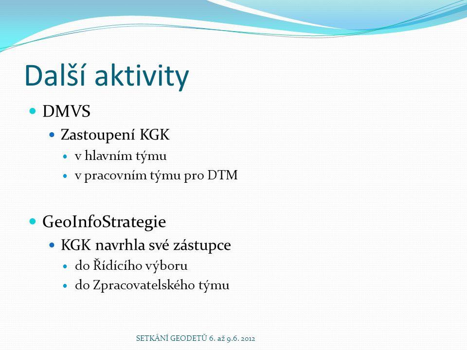 Další aktivity  DMVS  Zastoupení KGK  v hlavním týmu  v pracovním týmu pro DTM  GeoInfoStrategie  KGK navrhla své zástupce  do Řídícího výboru