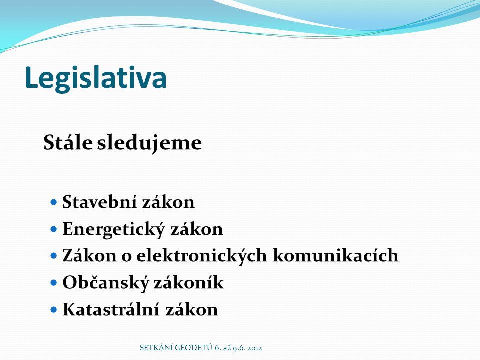 Legislativa Stále sledujeme  Stavební zákon  Energetický zákon  Zákon o elektronických komunikacích  Občanský zákoník  Katastrální zákon SETKÁNÍ