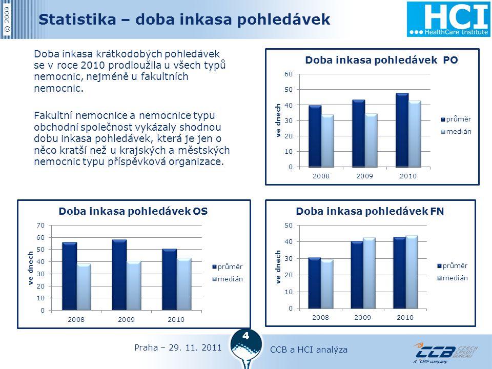 © 2009 4 Statistika – doba inkasa pohledávek Doba inkasa krátkodobých pohledávek se v roce 2010 prodloužila u všech typů nemocnic, nejméně u fakultních nemocnic.