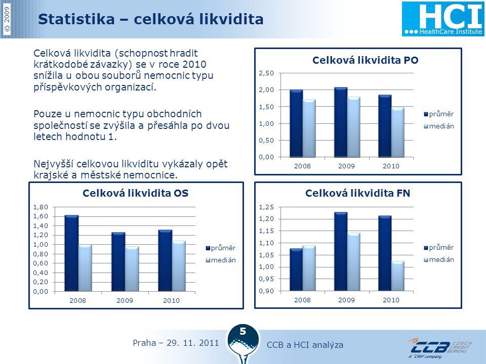 © 2009 5 Statistika – celková likvidita Celková likvidita (schopnost hradit krátkodobé závazky) se v roce 2010 snížila u obou souborů nemocnic typu příspěvkových organizací.