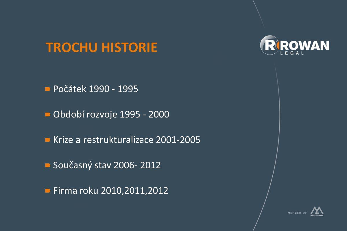 TROCHU HISTORIE Počátek 1990 - 1995 Období rozvoje 1995 - 2000 Krize a restrukturalizace 2001-2005 Současný stav 2006- 2012 Firma roku 2010,2011,2012