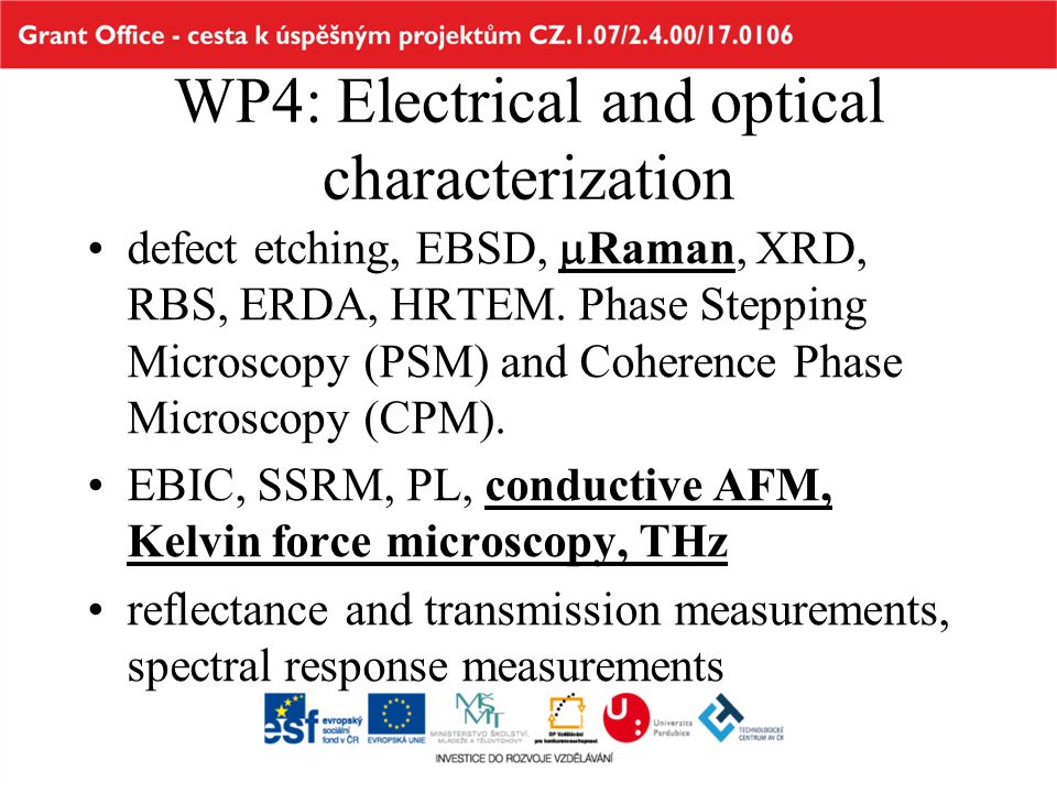 WP4: Electrical and optical characterization •defect etching, EBSD,  Raman, XRD, RBS, ERDA, HRTEM. Phase Stepping Microscopy (PSM) and Coherence Phas