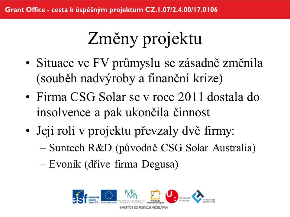 Změny projektu •Situace ve FV průmyslu se zásadně změnila (souběh nadvýroby a finanční krize) •Firma CSG Solar se v roce 2011 dostala do insolvence a
