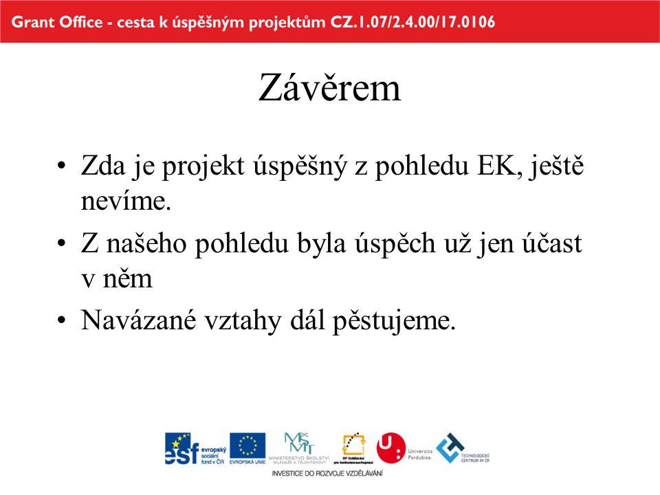 Závěrem •Zda je projekt úspěšný z pohledu EK, ještě nevíme. •Z našeho pohledu byla úspěch už jen účast v něm •Navázané vztahy dál pěstujeme.