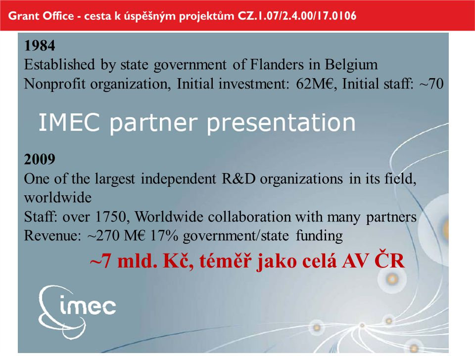 1984 Established by state government of Flanders in Belgium Nonprofit organization, Initial investment: 62M€, Initial staff: ~70 2009 One of the large