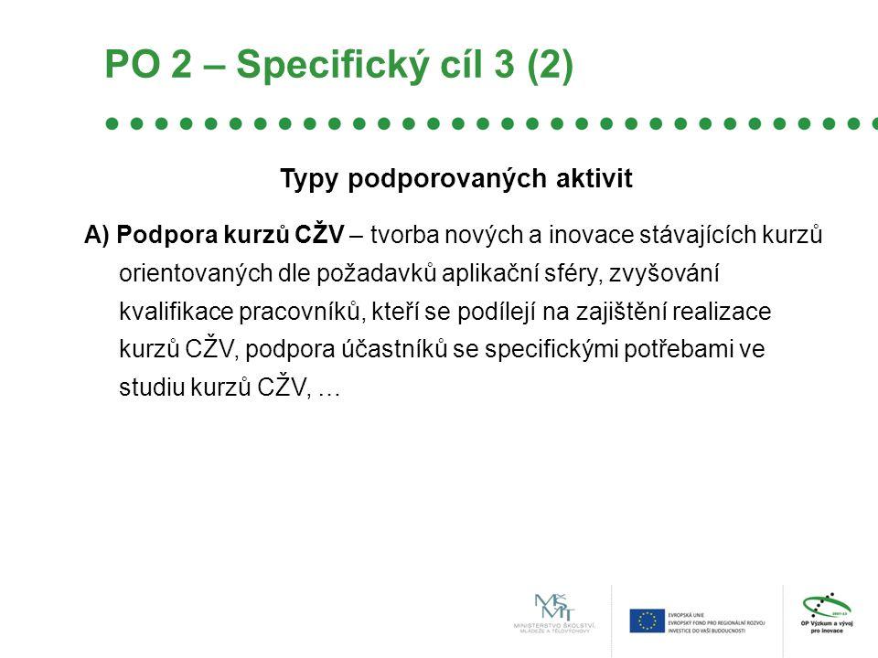 Typy podporovaných aktivit A) Podpora kurzů CŽV – tvorba nových a inovace stávajících kurzů orientovaných dle požadavků aplikační sféry, zvyšování kvalifikace pracovníků, kteří se podílejí na zajištění realizace kurzů CŽV, podpora účastníků se specifickými potřebami ve studiu kurzů CŽV, … PO 2 – Specifický cíl 3 (2)