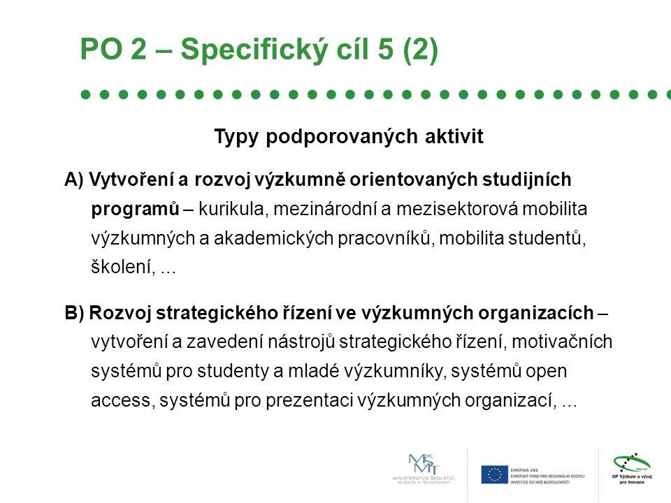 Typy podporovaných aktivit A) Vytvoření a rozvoj výzkumně orientovaných studijních programů – kurikula, mezinárodní a mezisektorová mobilita výzkumnýc