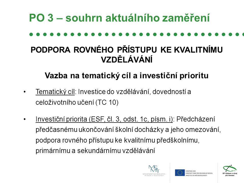 PO 3 – souhrn aktuálního zaměření PODPORA ROVNÉHO PŘÍSTUPU KE KVALITNÍMU VZDĚLÁVÁNÍ Vazba na tematický cíl a investiční prioritu •Tematický cíl: Investice do vzdělávání, dovedností a celoživotního učení (TC 10) •Investiční priorita (ESF, čl.