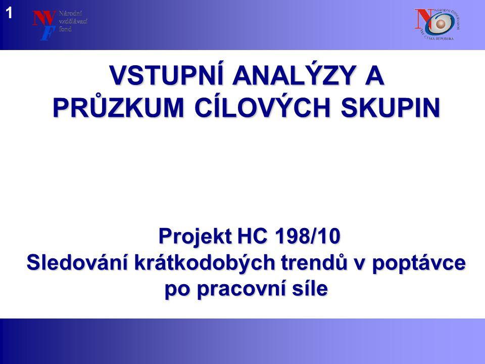 www.nvf.cz/observatory VSTUPNÍ ANALÝZY A PRŮZKUM CÍLOVÝCH SKUPIN 1 Projekt HC 198/10 Sledování krátkodobých trendů v poptávce po pracovní síle
