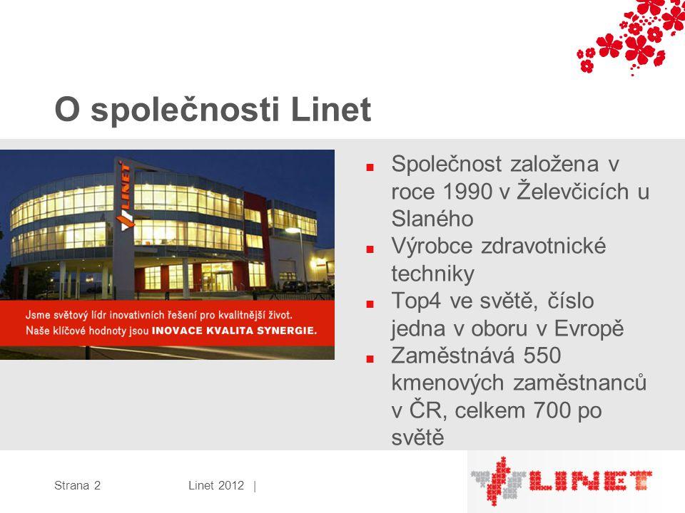 O společnosti Linet ■ Společnost založena v roce 1990 v Želevčicích u Slaného ■ Výrobce zdravotnické techniky ■ Top4 ve světě, číslo jedna v oboru v Evropě ■ Zaměstnává 550 kmenových zaměstnanců v ČR, celkem 700 po světě Linet 2012 |Strana 2