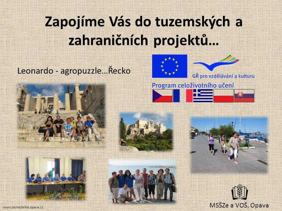 Zapojíme Vás do tuzemských a zahraničních projektů… Leonardo - agropuzzle…Řecko MSŠZe a VOŠ, Opava www.zemedelka.opava.cz