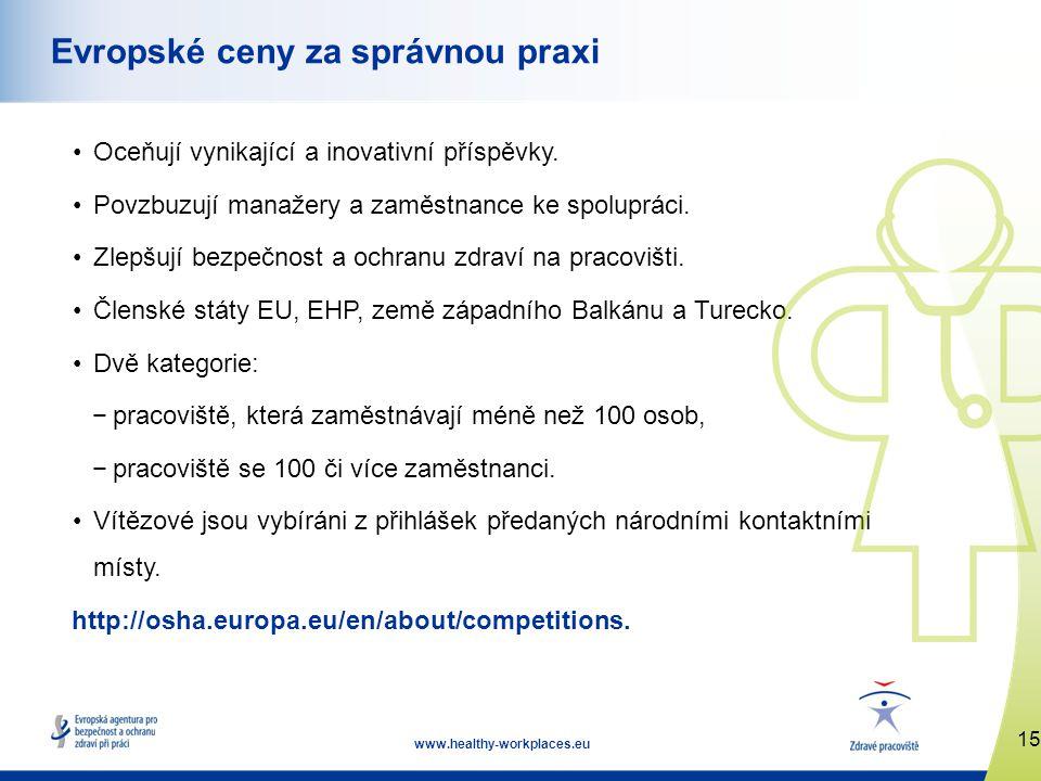 15 www.healthy-workplaces.eu Evropské ceny za správnou praxi •Oceňují vynikající a inovativní příspěvky.