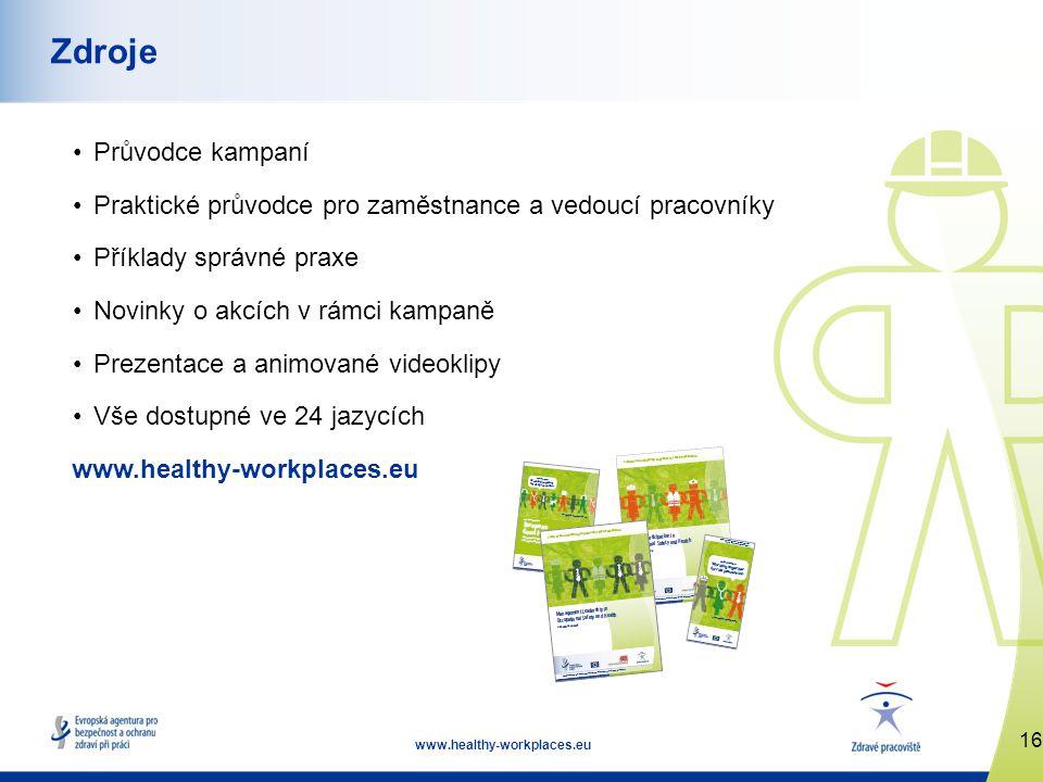16 www.healthy-workplaces.eu Zdroje •Průvodce kampaní •Praktické průvodce pro zaměstnance a vedoucí pracovníky •Příklady správné praxe •Novinky o akcích v rámci kampaně •Prezentace a animované videoklipy •Vše dostupné ve 24 jazycích www.healthy-workplaces.eu