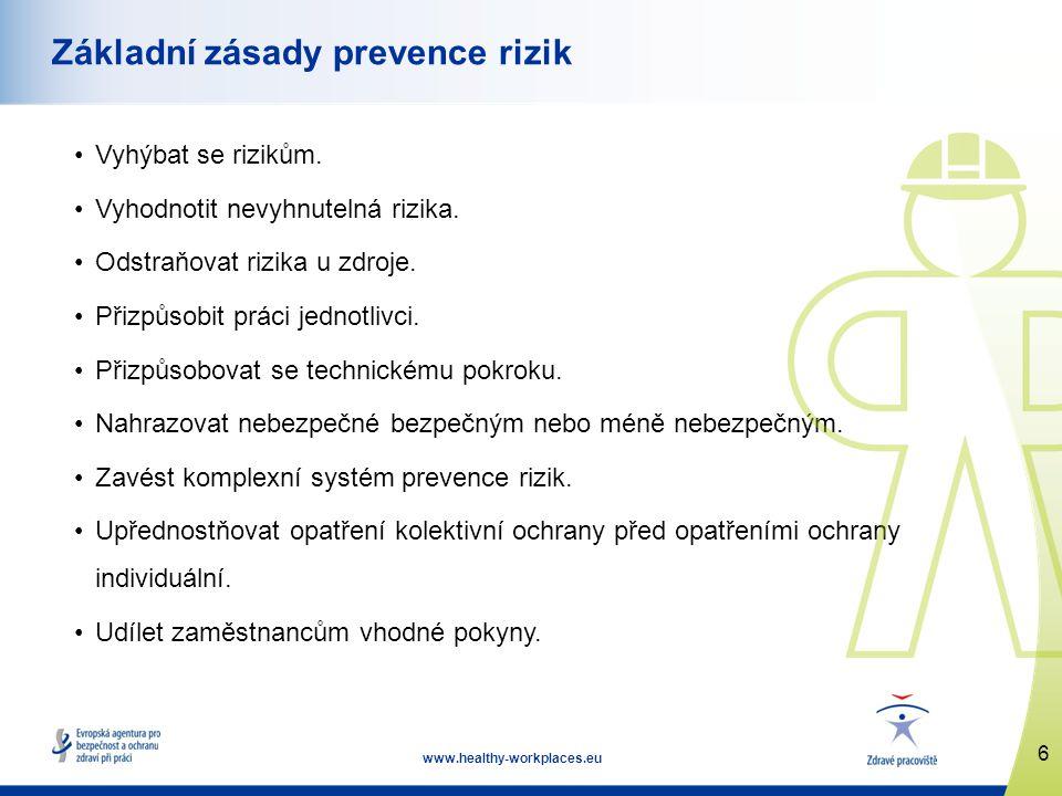 6 www.healthy-workplaces.eu Základní zásady prevence rizik •Vyhýbat se rizikům.