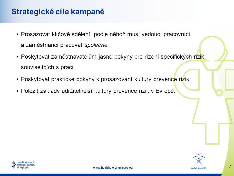 7 www.healthy-workplaces.eu Strategické cíle kampaně •Prosazovat klíčové sdělení, podle něhož musí vedoucí pracovníci a zaměstnanci pracovat společně.