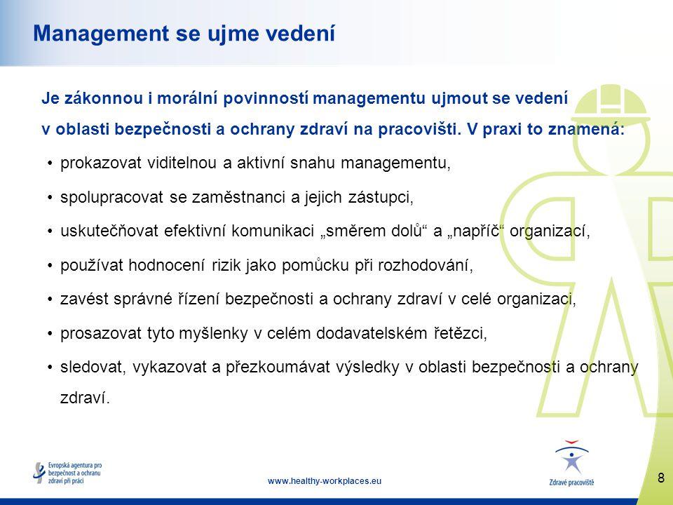 8 www.healthy-workplaces.eu Management se ujme vedení Je zákonnou i morální povinností managementu ujmout se vedení v oblasti bezpečnosti a ochrany zdraví na pracovišti.