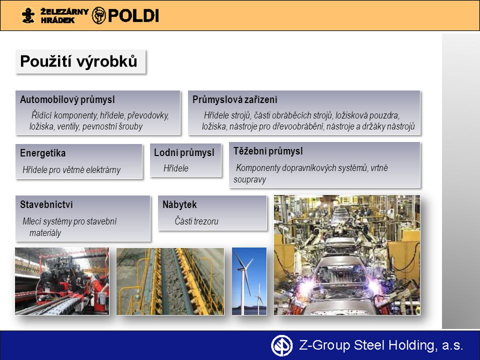 Použití výrobků Automobilový průmysl Řídící komponenty, hřídele, převodovky, ložiska, ventily, pevnostní šrouby Automobilový průmysl Řídící komponenty, hřídele, převodovky, ložiska, ventily, pevnostní šrouby Stavebnictví Mlecí systémy pro stavební materiály Stavebnictví Mlecí systémy pro stavební materiály Nábytek Části trezoru Nábytek Části trezoru Energetika Hřídele pro větrné elektrárny Energetika Hřídele pro větrné elektrárny Průmyslová zařízení Hřídele strojů, části obráběcích strojů, ložisková pouzdra, ložiska, nástroje pro dřevoobrábění, nástroje a držáky nástrojů Průmyslová zařízení Hřídele strojů, části obráběcích strojů, ložisková pouzdra, ložiska, nástroje pro dřevoobrábění, nástroje a držáky nástrojů Lodní průmysl Hřídele Lodní průmysl Hřídele Těžební průmysl Komponenty dopravníkových systémů, vrtné soupravy Těžební průmysl Komponenty dopravníkových systémů, vrtné soupravy