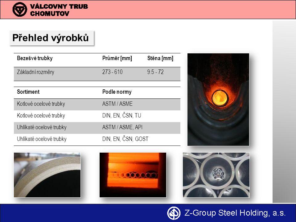 Přehled výrobků Bezešvé trubkyPrůměr [mm]Stěna [mm] Základní rozměry273 - 6109.5 - 72 SortimentPodle normy Kotlové ocelové trubkyASTM / ASME Kotlové ocelové trubkyDIN, EN, ČSN, TU Uhlíkaté ocelové trubkyASTM / ASME, API Uhlíkaté ocelové trubkyDIN, EN, ČSN, GOST