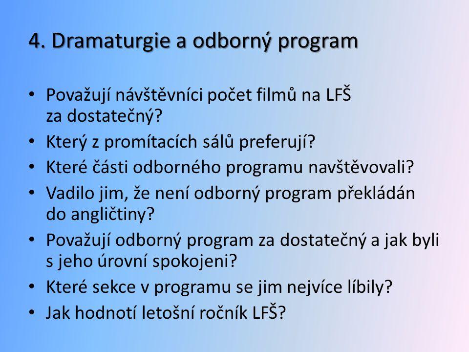 4. Dramaturgie a odborný program • Považují návštěvníci počet filmů na LFŠ za dostatečný? • Který z promítacích sálů preferují? • Které části odbornéh