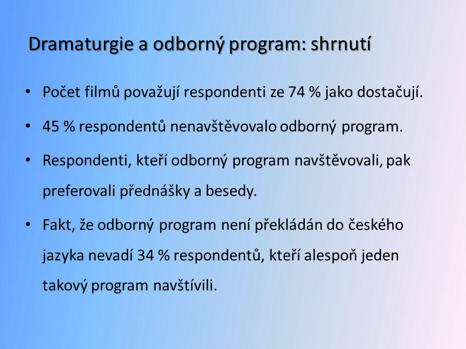 Dramaturgie a odborný program: shrnutí • Počet filmů považují respondenti ze 74 % jako dostačují. • 45 % respondentů nenavštěvovalo odborný program. •
