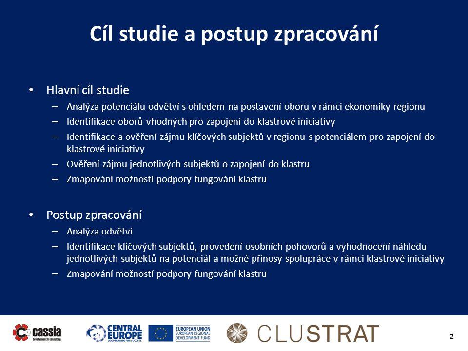 2 Cíl studie a postup zpracování • Hlavní cíl studie – Analýza potenciálu odvětví s ohledem na postavení oboru v rámci ekonomiky regionu – Identifikac