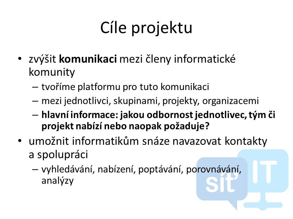 Cíle projektu • zvýšit komunikaci mezi členy informatické komunity – tvoříme platformu pro tuto komunikaci – mezi jednotlivci, skupinami, projekty, organizacemi – hlavní informace: jakou odbornost jednotlivec, tým či projekt nabízí nebo naopak požaduje.