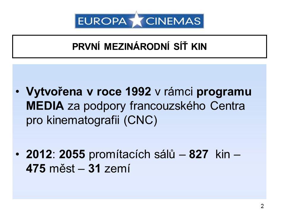 2 PRVNÍ MEZINÁRODNÍ SÍŤ KIN •Vytvořena v roce 1992 v rámci programu MEDIA za podpory francouzského Centra pro kinematografii (CNC) •2012: 2055 promítacích sálů – 827 kin – 475 měst – 31 zemí