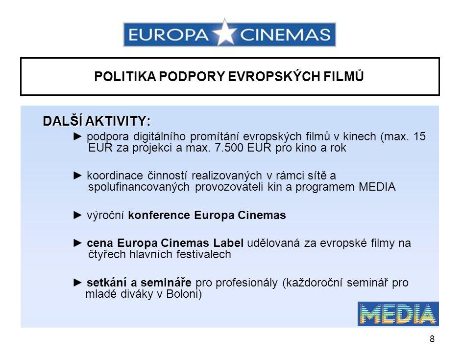 9 SÍŤOVÁ ORGANIZACE CENA EUROPA CINEMAS LABEL •uděluje se od roku 2003 na mezinárodních filmových festivalech v Cannes, Berlíně, Benátkách a Karlových Varech •cílem je zvýšení oběhu, propagace a počtu projekcí evropských filmů •finanční bonus jsou provozovatele kin zapojených do sítě – motivace k k uvedení oceněného filmu a jeho co nejdelší udržení na programu v roce 2007: CONTROL (Anton Corbijn, VB) v Cannes EL CAMINO DE LOS INGLESES (Antonio Banderas, Šp.) v Berlíně TŘÍDA (Ilmar Raag, Est.) v Karlových Varech